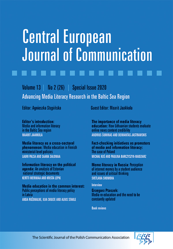 View Vol. 13 No. 2/26 (2020): Special Issue 2020: Advancing Media Literacy Research in the Baltic Sea Region