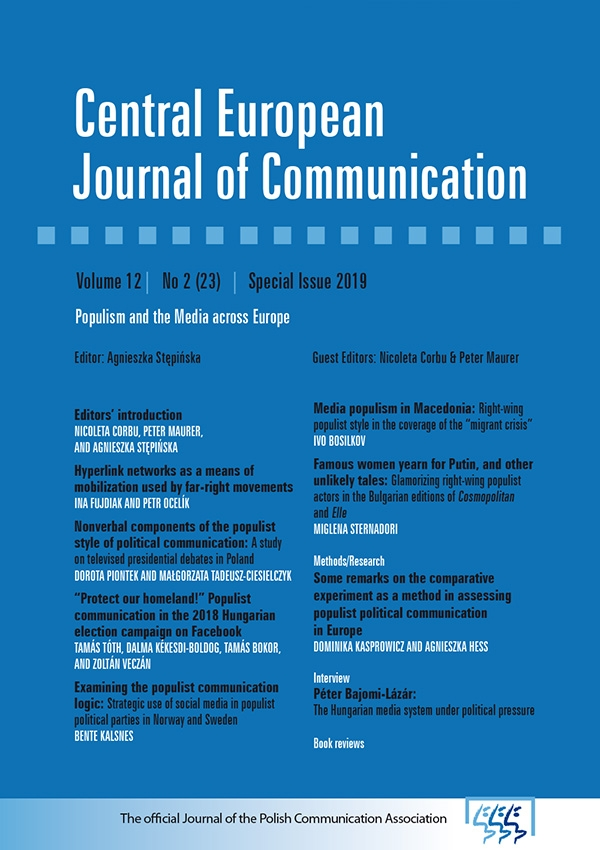 View Vol. 12 No. 2(23) (2019): Special Issue 2019: Populism and the Media across Europe